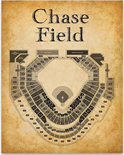 Chase Field Baseball Stadium Seating Chart - 11x14 Unframed Art Print - Great Sports Bar Decor and Gift Under $15 for Baseball Fans