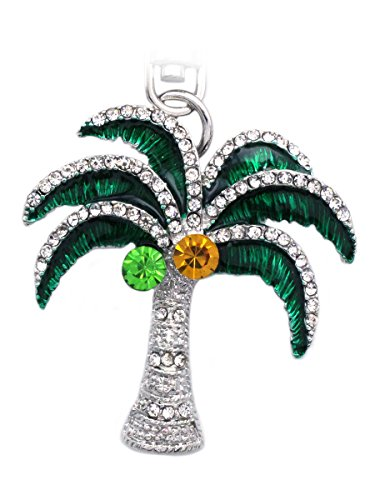 (cocojewelry Bling Beach Palm Tree Coconut Fruit Charm Keychain Ring (Silver-Tone Palm Tree))