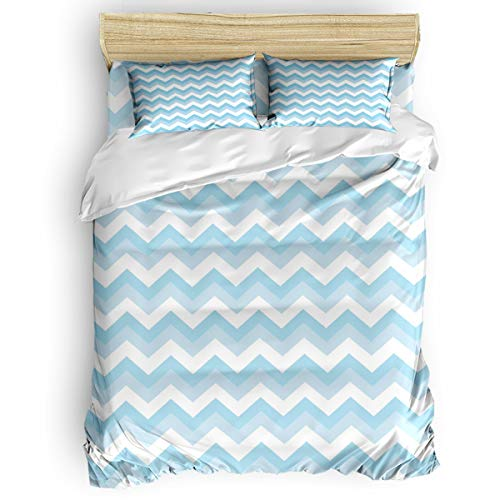 Picpeak Home Bedding Set 4 Piece Duvet Cover Set Full Size Light Blue and White Ripples Lightweight Soft Bed Sheets,1 Duvet Cover,1 Flat Sheet and 2 Pillow Covers for Children/Adults/Teen