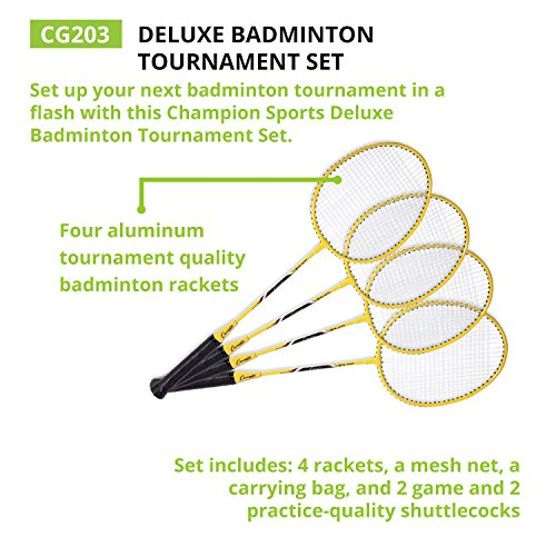 Champion Sports Outdoor Badminton Set: Net, Poles, 4 Rackets, 4 Shuttlecocks & Bag - Portable Equipment for Backyard Games, Team Sports, Adults & Kids by Champion Sports (Image #7)