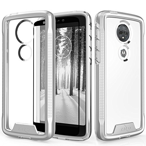 Zizo ION Series Compatible with Motorola Moto e5 Supra Case Military Grade Drop Tested with Tempered Glass Screen Protector e5 Plus Silver Clear