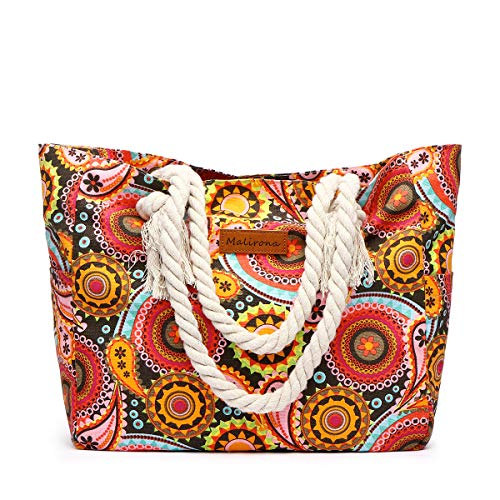 Malirona Large Beach Travel Tote Bag Canvas Shoulder Bag with Cotton Rope Handle (Sun Flower)
