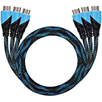 High Speed HDMI 2.0 to HDMI 2.0 Cable with Ethernet, Supports 4K@60Hz, FHD, 3D, 2160P, 1080P, 18Gbps - 28AWG Nylon Braided Cord - Gold Plated Connectors - Audio Return Channel - 6ft(3 Pack)