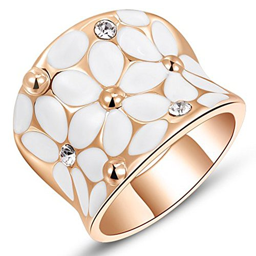- Womens Elegant White Enamel Flower Rose Gold Band Bloom Petal Wedding Engagement Ring Crystal Inlay Size 6