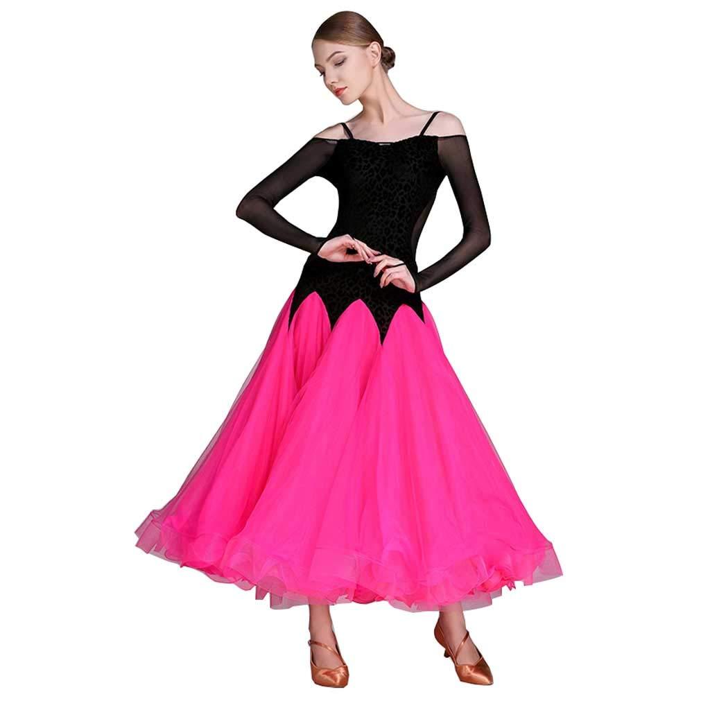 大人のモダンダンスショードレス、アダルトドレスのボールルームのダンスドレス B07HHZZFTW XL|ローズレッド ローズレッド XL