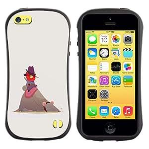 LASTONE PHONE CASE / Suave Silicona Caso Carcasa de Caucho Funda para Apple Iphone 5C / Cute Funny Cat Mouse Red Beige Cowboy