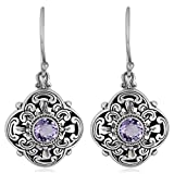 Artisanica Amethyst Sterling Silver Floral Artistic Dangle Earrings