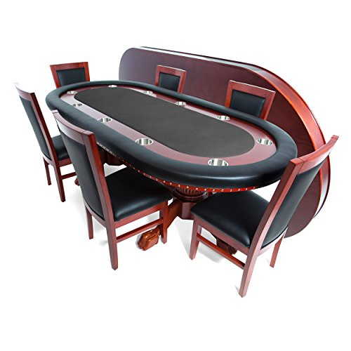 BBO Poker Rockwell Poker Table for 10 Players with Black Felt Playing Surface, 94 x 44-Inch Oval, Includes Matching Dining Top with 6 Dining ()