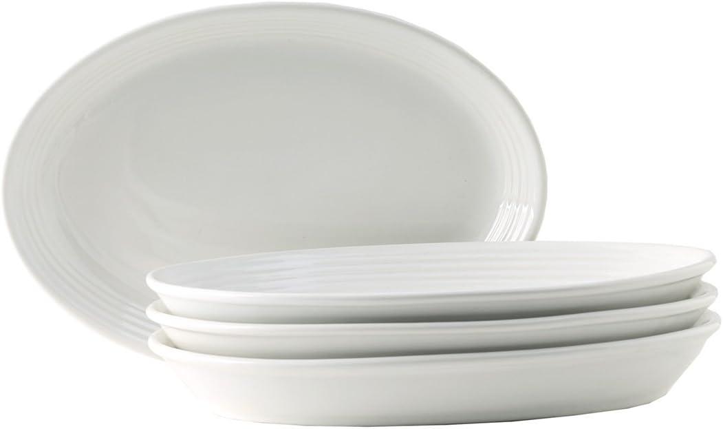 Tuxton Home Concentrix Oval Platter (Set of 4), Coupe 9 3/4