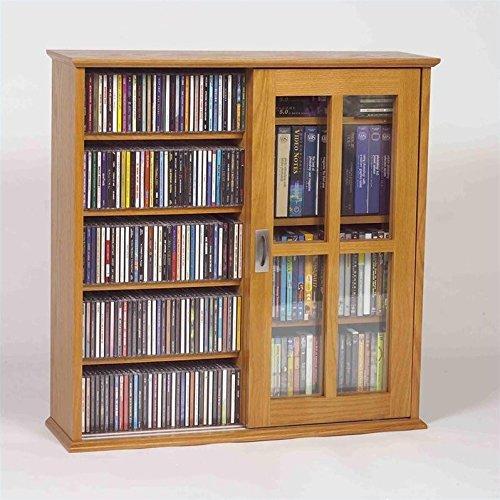 Mission Storage Media Oak (Leslie Dame Mission Wall Hanging Double-Width Sliding Door CD,DVD Multimedia Cabinet in Oak)