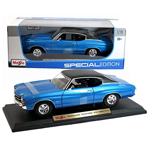 Display Special Edition (Maisto Special Edition Series 1:18 Scale Die Cast Car Set - Blue Color Classic Hardtop Sports Coupe 1971 Chevrolet Chevelle SS 454 with Display Base (Car Dimension: 10