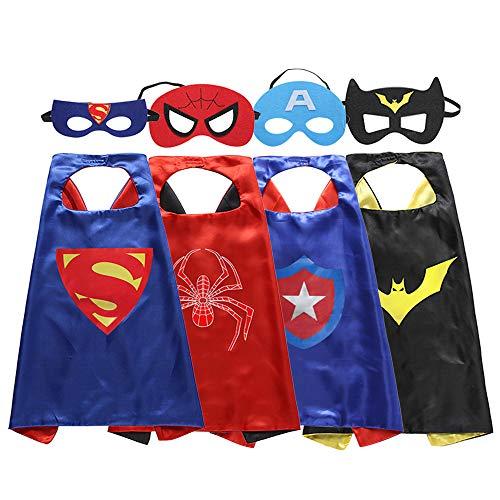 Zaleny Superhero Dress up Costumes - 4 Satin Capes and 4 Felt Masks ()