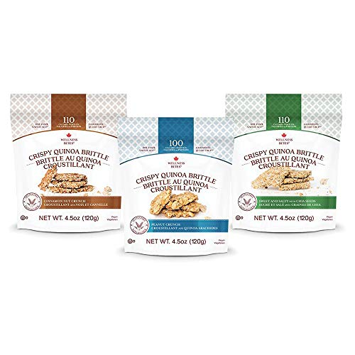 Crispy Quinoa Brittle Snacks, Cinnamon Nut, Peanut Crunch, and Sweet and Salty Flavors - 3 Pack Combo - Vegan, Gluten Free, and Kosher