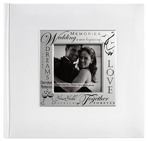 MCS MBI 846616 9 by 9-Inch Fabric Expressions with Frame Front 200 Pocket Album in White in Wedding Theme
