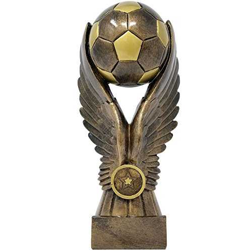 ⚽ Soccer Victory Trophy ⚽ Futbol Award | 8.75 Inch Tall - Free Engraved Plate on Request - Decade ()