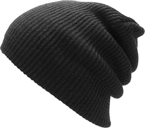 Review KBW-12 BLK Solid Slouchy Beanie Baggy Style Skull Cap Winter Unisex Ski Hat