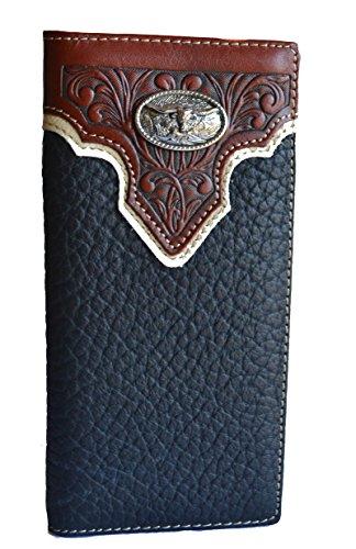 Stony west longhorn texas concho tooled long men men's bifold leather wallet (black)