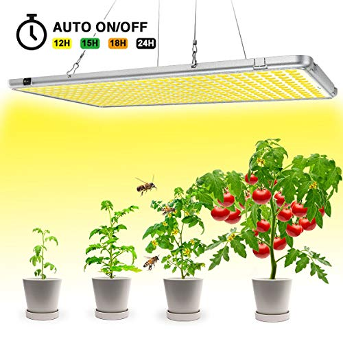 Bozily Led Grow Lights for Indoor Plants Full Spectrum 300W, Sunlike Plant Growing Light with Timer 12/15/18/24H Auto On Off for Indoor Plants Seedlings,Growing,Blooming and Fruiting Oversized 338Leds