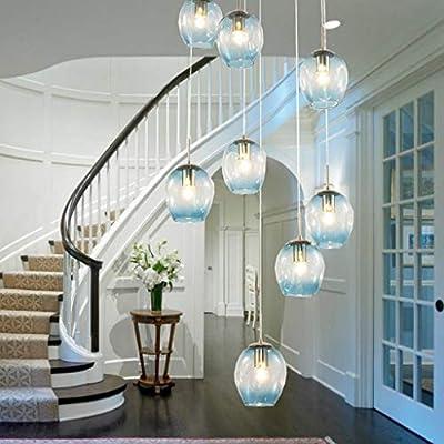 10 Bolas de vidrio, Escaleras, Larga araña, Edificio dúplex, Gran araña, Sala de estar, Villa, hueco, moderna y sencilla, escalera colgante, lámpara de 1,5 m. (color : Azul , Tamaño : 10 heads) : Amazon.es: Hogar