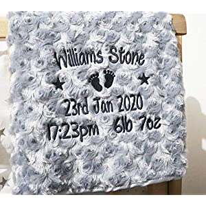 Personalised Baby Blanket Luxury Rosebud Style Grey Round Font Name Date Weight Time Print