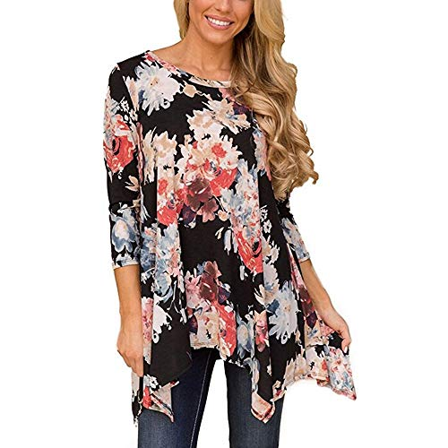 GOVOW Three Quarter Sleeve T Shirt Women Plus Size Autumn Casual O Neck Floral Print Blouses Tops(US:12/CN:XXL,Black) ()