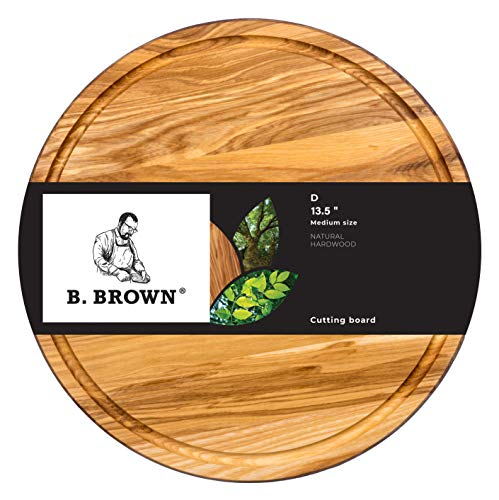 Wood Cutting Board 13.5 inches by B.Brown Medium Round Cutting Board Great for Serving Tray and Cheese Board Great for Gift - Cutting Board Tray