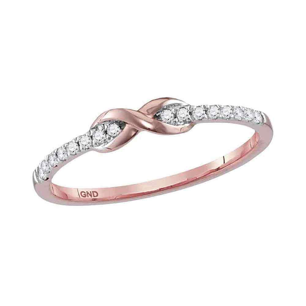 Jewel Tie Solid Size 6.5-10k Rose Gold Round Diamond Infinity Knot Stackable Band Ring 1/10 Cttw by Jewel Tie