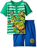 Nickelodeon Toddler Boys' 2 Piece Teenage Mutant Ninja Turtles Henley and Twill Short Set, Green, 4t