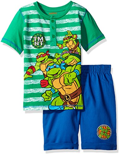 Nickelodeon Little Boys' 2 Piece Teenage Mutant Ninja Turtles Henley and Twill Short Set, Green, 7 (Tmnt Outfit)