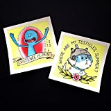 Tattoo Prints Best Deals - Mr Meeseeks and Snowball Rick and Morty Tattoo Flash Mini Prints by Michelle Coffee