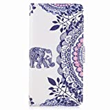 Yiizy Samsung Galaxy A5 (2017) Case, Blue ElephantY Design Premium PU Leather Slim Flip Wallet Cover Bumper Protective Shell Pouch with Media Kickstand Card Slots