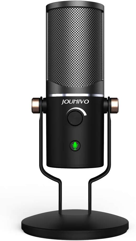 USB Microphone Computer Cardioid Condenser Mic, JOUNIVO PC Laptop Recording Microphone with Mute Button & LED Indicator for Studio Recording Vocals, YouTube, Streaming Broadcast, Podcasting, Skype