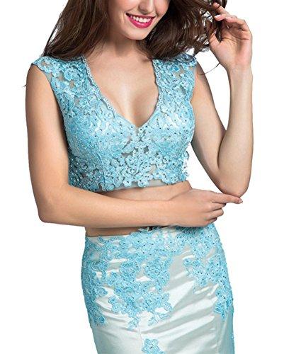 Bridal _ Mall Mujeres con cuello en V Dos unidades) larga Mermaid Punta Appl liso para vestido de noche azul claro