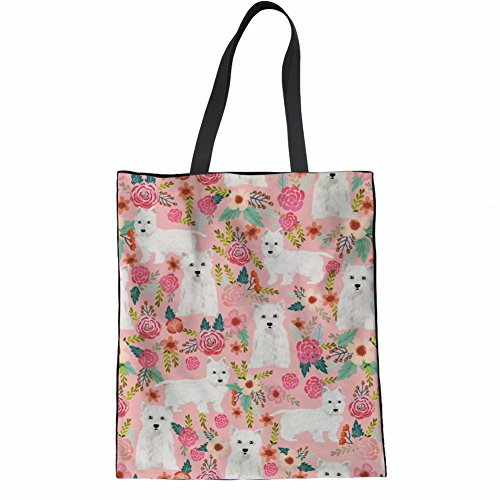 (Coloranimal Ladies Grocery Shopping Bag Westie Floral Printed Large Reusable Handbag)