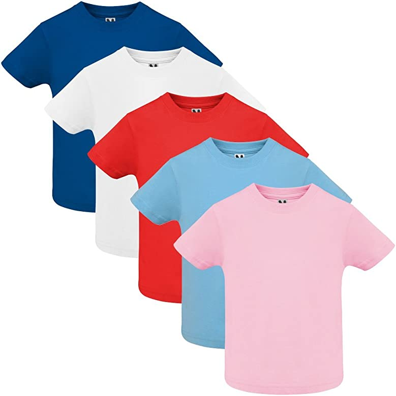 Dalim Pack de 5 Camiseta para bebé, 100% Algodón (6 Meses): Amazon ...