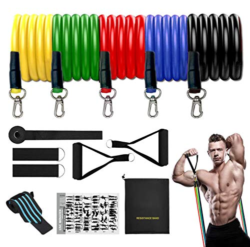 ANDSTON 11Pcs Resistance Bands Set, 5 Stackable Exercise Bands Workout Bands with Door Anchor, 2 Foam Handle, 2 Metal Foot Ring & Carrying Case for Working Out, Physical Therapy, Gym Training, Yoga
