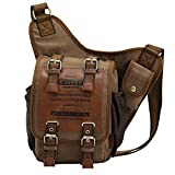 Generic Vintage Unisex Canvas Backpack Bicycle Bag Leather Patchwork Messenger