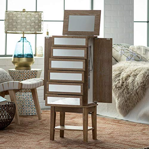 Home Collection Modern Glam Rustic Ash Mirrored Freestanding Jewelry Armoire Storage Cabinet Box