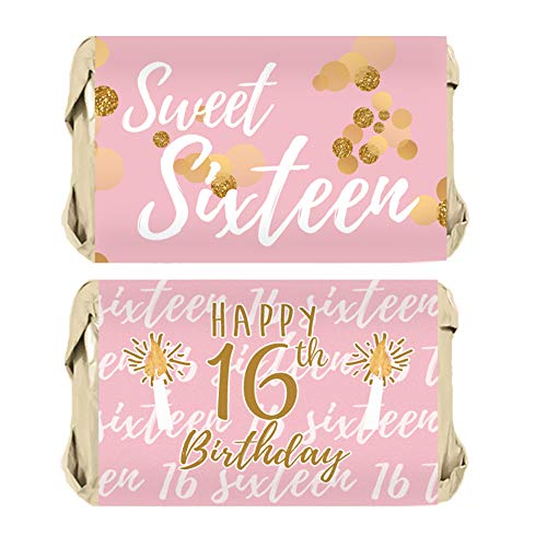 Sweet Sixteen 16th Birthday Party Mini Candy Bar Wrapper Stickers, 45 Stickers (Pink and Gold)