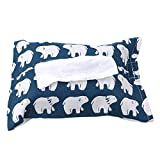 CH Cute Polar Bear Pattern Cotton Linen Paper Towel Cover Car Accessories Tissue Paper Holder