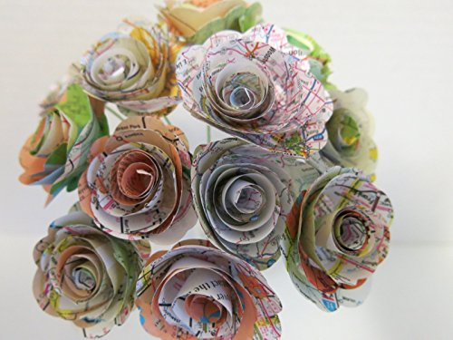 Scalloped Old Gas Station Road Map Roses on Stems, 1.5