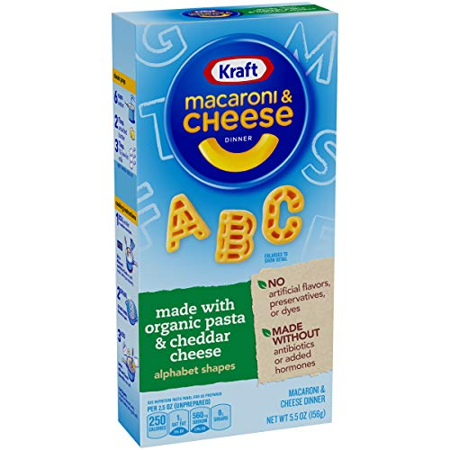 Kraft Organic Pasta Macaroni & Cheese with Alphabet Shapes (5.5 oz Boxes, Pack of 12)