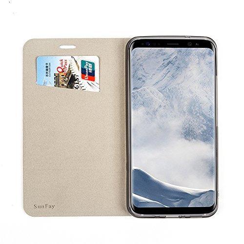 Funda Samsung Galaxy A5 2017, SunFay Cartera Carcasa Flip Folio Caja Piel PU Suave Super Delgado Estilo Libro,Soporte Plegable para Samsung Galaxy A5 2017 - Gris Negro