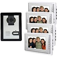 AMOCAM 7 Inch Lcd Video Intercom Door Phone Video Doorbell Kit 1-Camera 4-Monitor IR Night Vision Waterproof Wired Access Control