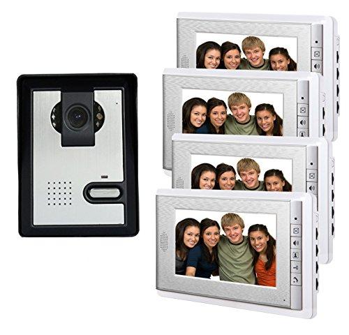 (AMOCAM 7 Inch Video Intercom Door Phone Video Doorbell Kit IR Night Vision Camera Wired 4-Monitor for Home Door Access Control Security)