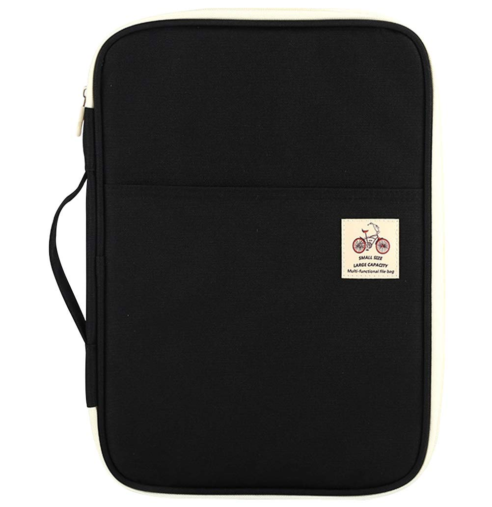 Phyxin Professional Document Organizer 9 Pockets Zipper Closure Waterproof Portfolio Organizer A4 Document Bag Black