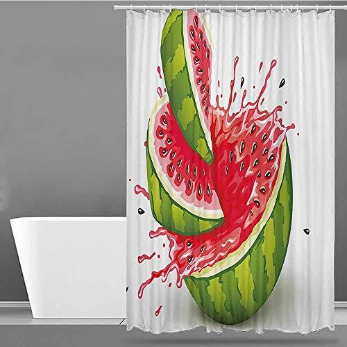 XXANS Bathtub Splash Guard,Modern Decor,for Master, Kid's, Guest Bathroom,W94x72L Red White and Fern Green