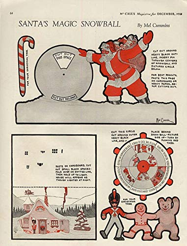 (Santa's Magic Snowball by Mel Cummins paper doll page McCall's 12/1924)
