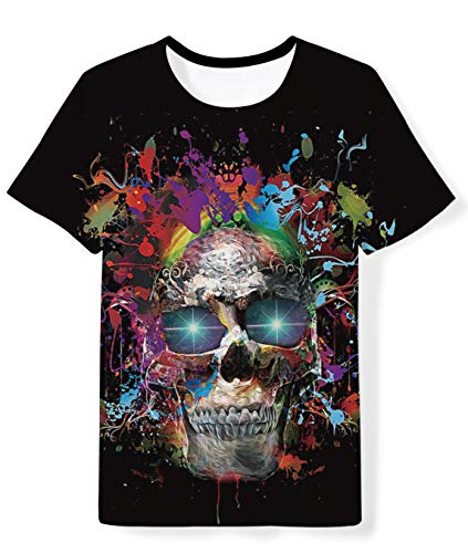 Kids Child 3D Graphic Casual Short Sleeve Tees Tops Cool Skull Graffiti Crewneck Shirts Clothes for Playing Exercising 6-8 Y