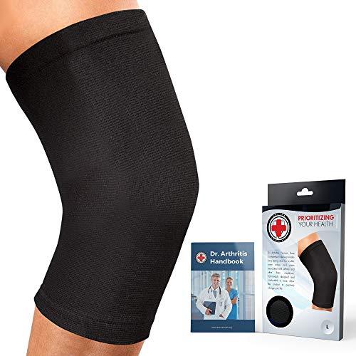 (Dr. Arthritis Knee Sleeve & Doctor Written Handbook - Relief for Arthritis, tendinitis, Knee Pain & More (Black, XXL))